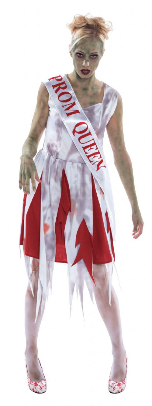 Ladies Horror Prom Queen Costume Hammer Halloween Fancy Dress Outfit